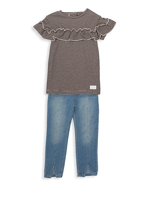 7 FOR ALL MANKIND | Little Girl's Two-Piece Top & Jeans Set | Goxip