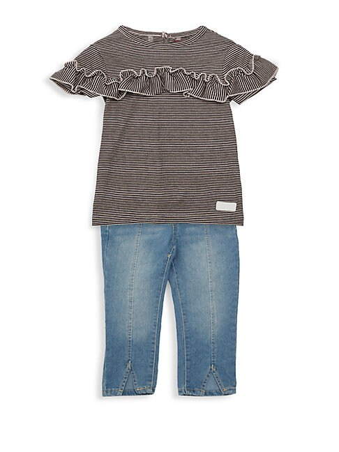 7 FOR ALL MANKIND | Baby Girl's Two-Piece Striped Ruffle Top & Jeans Set | Goxip