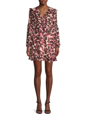 Parker Monet Animal Print Faux-Wrap Mini Dress