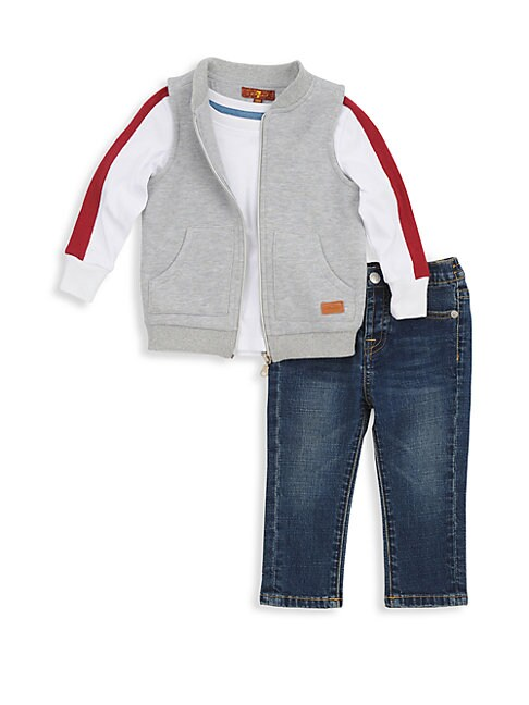 Little Boys 3Piece Top Vest  Jeans Set
