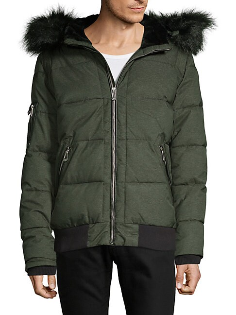 NOIZE AMSTERDAM Quilted Faux Fur-Trimmed Bomber Jacket in Black Mix
