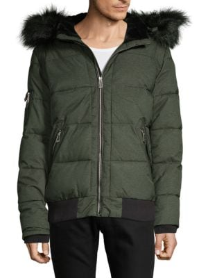 NOIZE AMSTERDAM Quilted Faux Fur-Trimmed Bomber Jacket in Forest Mix