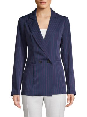 Grey Lab Pinstriped Double-Breasted Blazer