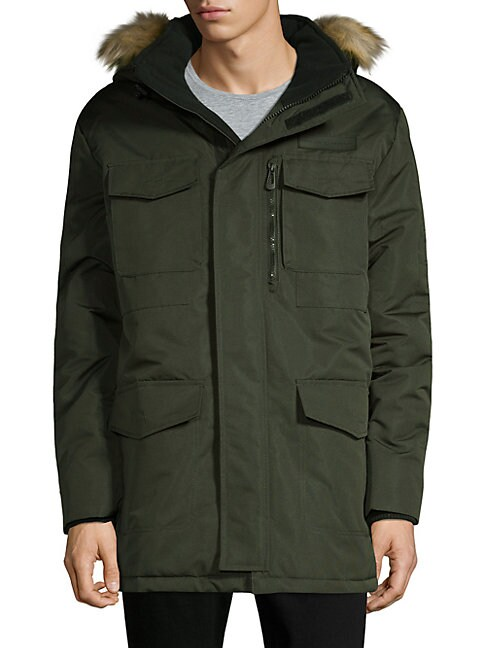 NOIZE AMSTERDAM Faux Fur-Trimmed Hooded Jacket in Forest