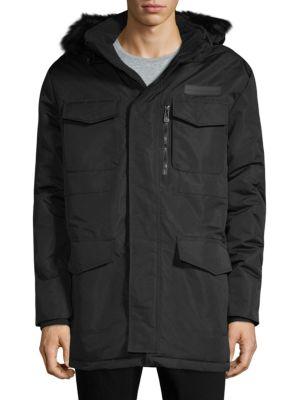 NOIZE AMSTERDAM Faux Fur-Trimmed Hooded Jacket in Black