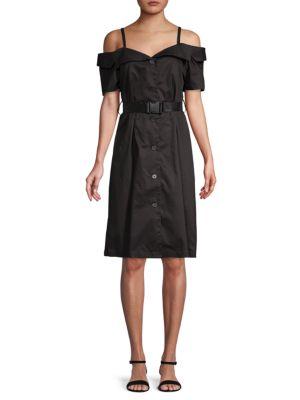 Grey Lab COLD-SHOULDER COTTON KNEE-LENGTH DRESS