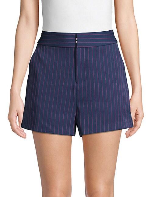 GREY LAB Pinstripe High-Waist Shorts in Navy Pink