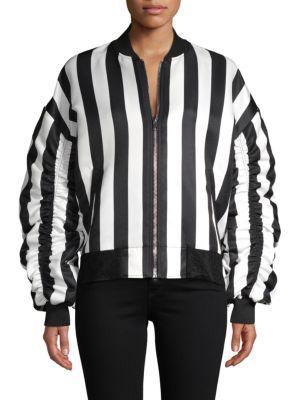 Grey Lab Striped Bomber Jacket