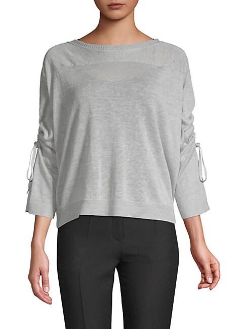 INHABIT Tie-Sleeve Linen Sweater in Black