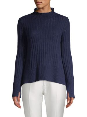 INHABIT Chunky Cotton Sweater in Navy