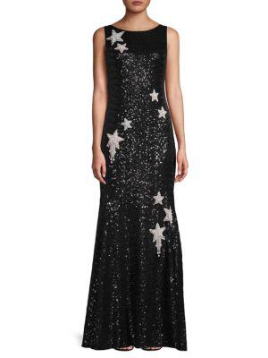 Theia Star Sequins Sleeveless Dress
