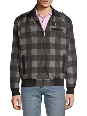 MEMBERS ONLY Checkered Bomber Jacket in Grey
