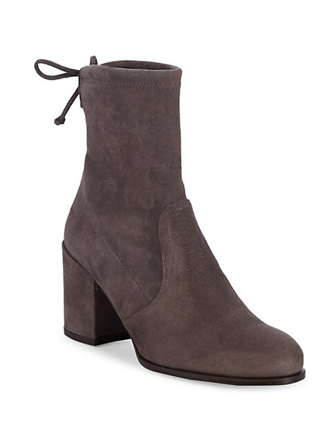 Ankle Tie Suede Booties, Charcoal