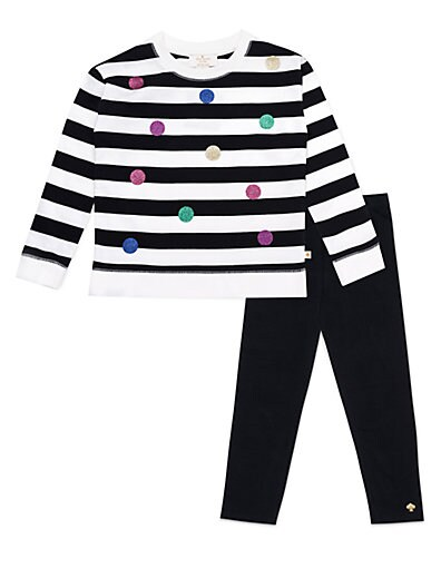 2607fa880 Kate Spade New York Baby Girl's 2-Piece Striped Cotton Top & Leggings Set