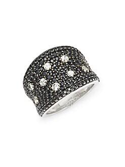Charles Krypell - Starlight Sterling Silver, Black Sapphire & White Sapphire Ring
