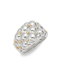 Charles Krypell - Tufted Sterling Silver & 18K Yellow Gold Ring