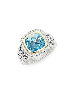 Charles Krypell - Sterling Ivy Sterling Silver, 18K Yellow Gold, 14K White Gold, Blue Topaz & Diamond Cocktail Ring