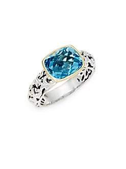 Charles Krypell - Ivy Sterling Silver, 14K Yellow Gold & Topaz Cocktail Ring