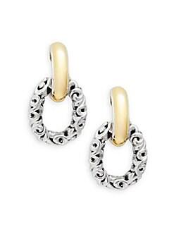 Charles Krypell - Ivy Sterling Silver, 18K Yellow Gold & 14K White Gold Door Knocker Earrings