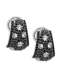 Charles Krypell - Starlight Sterling Silver, 14K White Gold, White Sapphire & Black Sapphire Earrings