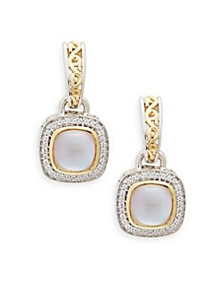 Charles Krypell - Ivy Sterling Silver, 18K Yellow Gold, 14K White Gold, Pink Mother-Of-Pearl & Diamond Drop Earrings