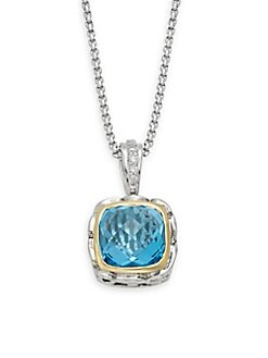 Charles Krypell - Ivy Sterling Silver, 18K Yellow Gold, 14K White Gold, Blue Topaz & Diamond Pendant Necklace