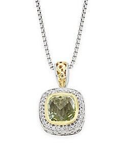 Charles Krypell - Ivy Sterling Silver, 18K Yellow Gold, Green Amethyst & Diamond Pendant Necklace