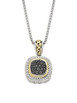 Charles Krypell - Ivy Sterling Silver, 18K Yellow Gold, Black Diamond & Diamond Pendant Necklace