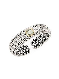 Charles Krypell - Ivy Sterling Silver, 18K Yellow Gold & Green Amethyst Cuff Bracelet