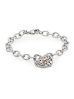 Charles Krypell - Ivy Sterling Silver & 18K Yellow Gold Heart Charm Bracelet