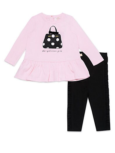 87e002079 Kate Spade New York Little Girl's 2-Piece Dotted Purse Top & Ruffle  Leggings Set