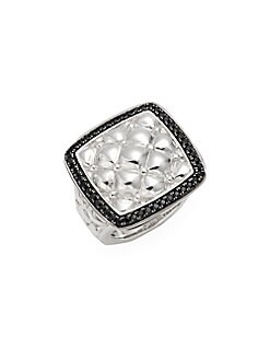 Charles Krypell - Tufted Sterling Silver & Black Sapphire Ring