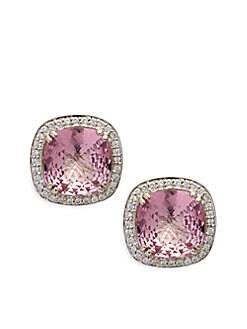 Charles Krypell - Sterling Silver, 14K White Gold, Pink Topaz & Diamond Omega Clip Earrings