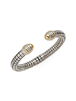 Charles Krypell - Sterling Silver & 14K Yellow Gold Cuff Bracelet