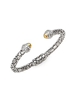 Charles Krypell - Phyton Sterling Silver, 14K White Gold, 14K Yellow Gold & Diamond Cuff Bracelet