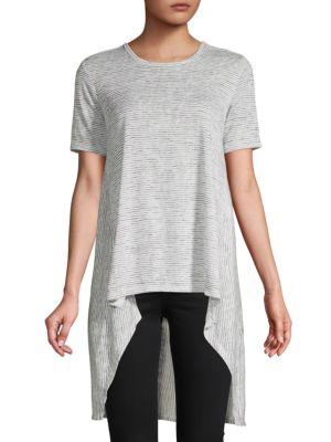 Dkny Striped High-Low T-Shirt