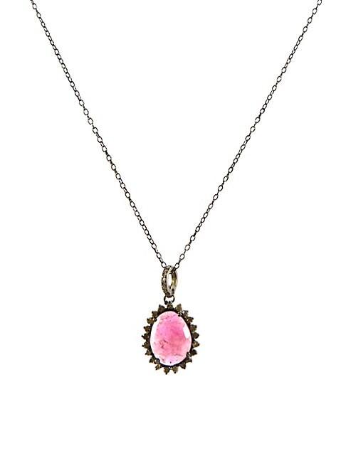 ADORNIA FINE JEWELRY | Elena Diamond Halo Tourmaline Pendant Necklace | Goxip