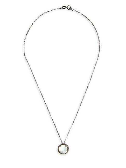 ADORNIA FINE JEWELRY | Malia Silver, Diamond & Moonstone Round Cut Pendant Necklace | Goxip