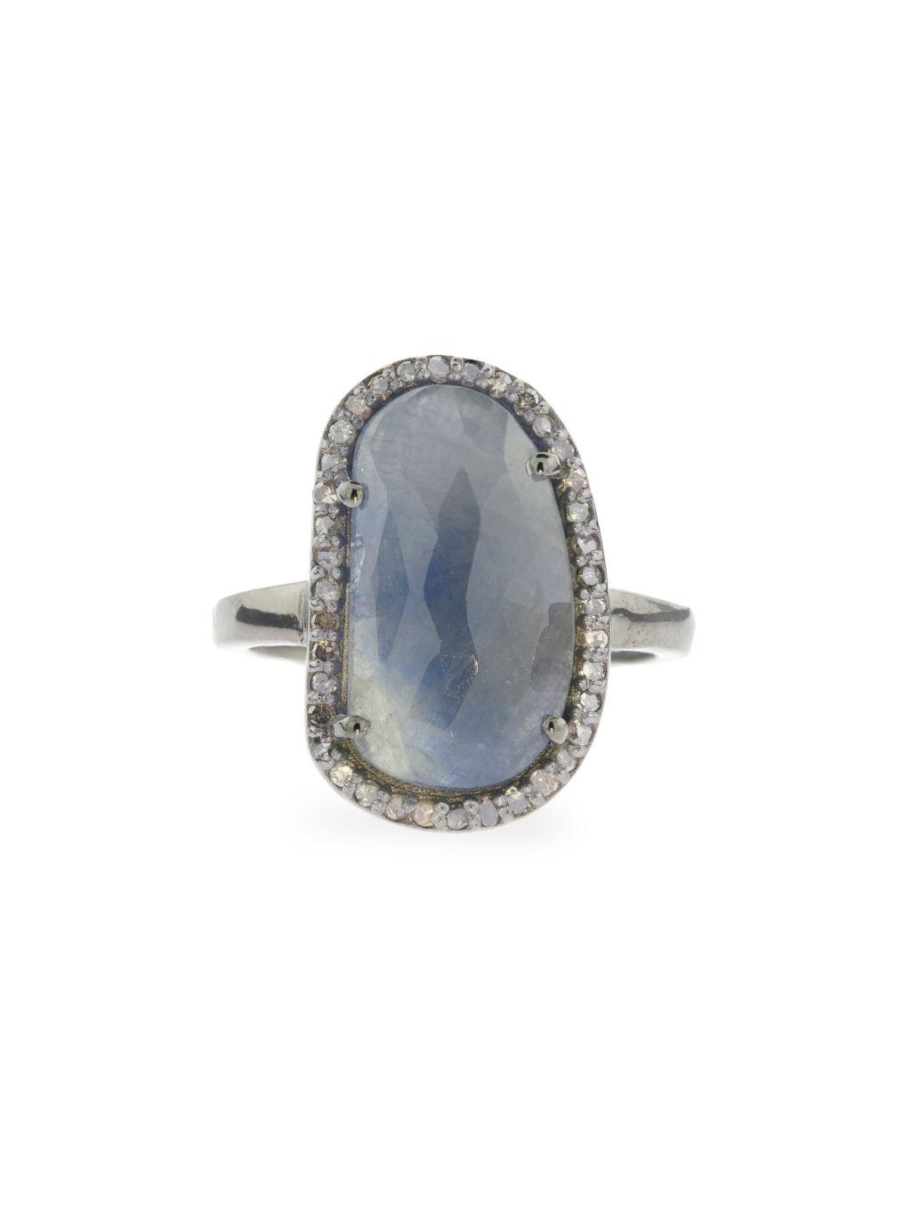 ADORNIA Fine Jewelry Mini Sasha Black Silver Sapphire & Diamond Ring