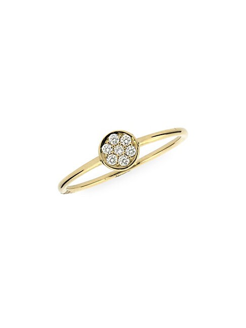 ADORNIA FINE JEWELRY | Circle 14K Yellow Gold & White Diamond Ring | Goxip