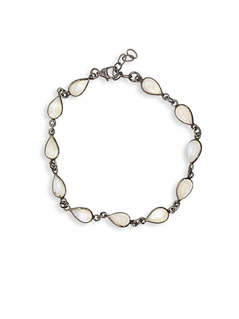 ADORNIA | Sterling Silver & Moonstone Station Bracelet | Goxip