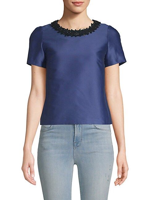 Embroidered Neck Short-Sleeve Top