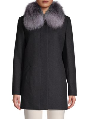 Sofia Cashmere Fox Fur-Trimmed Car Coat