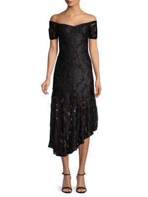 Alice Mccall Embroidered Off-The-Shoulder Lace Dress