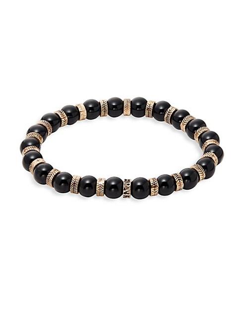 PEREPAIX | Black Obsidian Beaded Bracelet | Goxip