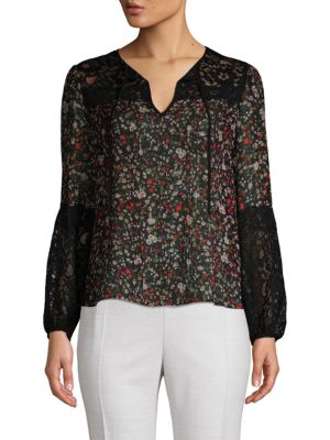 Floral Silk Lace Tie Blouse in Black Combo