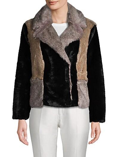 e784610a6 Rebecca Taylor Long-Sleeve Faux Fur Jacket ...