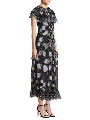 Alice Mccall Embroidered Ruffle Midi Dress