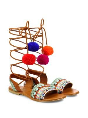 ELINA LINARDAKI L.A. Lover Embroidered Leather High-Wrap Sandals in Multi