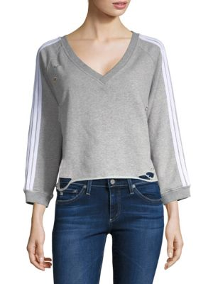 GENERATION LOVE Sharyn Stripe Sweatshirt in Grey White